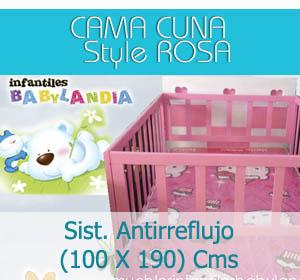 cama cuna style rosa